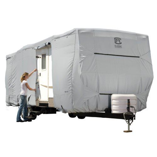 Classic Accessories OverDrive PermaPRO Deluxe Travel Trailer Cover, Fits 22' - 24' RVs - Lightweight Ripstop and Water Repellent RV Cover (Rv Trailer Covers)