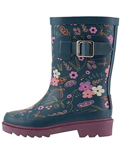 OAKI Kids Rubber Rain Boots, Midnight Floral, 2Y US Big Kid