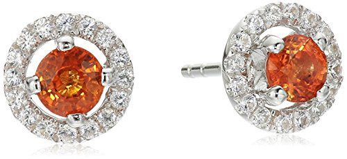 Sterling Silver Orange Sapphire and Created White Sapphire Halo Stud Earrings