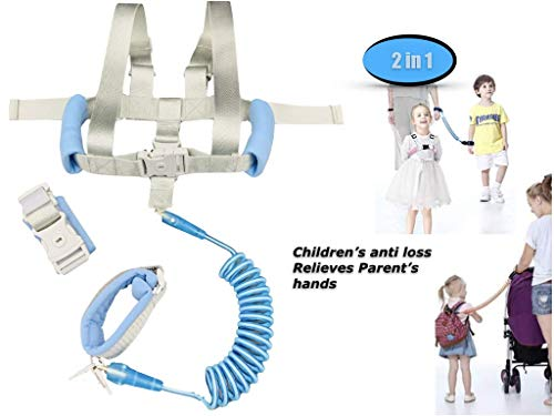 Anti Lost Wrist Link – Toddler Child Leash for Walking Baby Kid Harness Upgraded with Key Lock 2 in 1 360° Rotation Safety Adjusted Shoulders Wristband Assistant Strap Belt Extend Up to 2 Meter Blue
