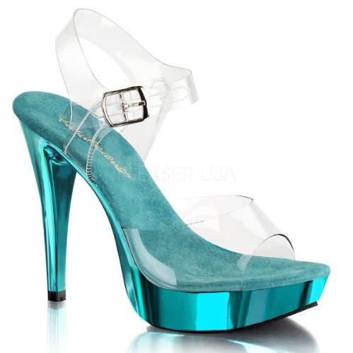 Pleaser turquoise Mujer Cocktail Sandalias Chrome Para 508 Clr OnrwfxYOq