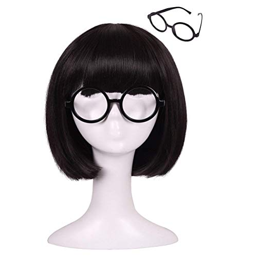 ColorGround Kids Size Short Straight Black Natural Cosplay Wig with Glasses frame ()