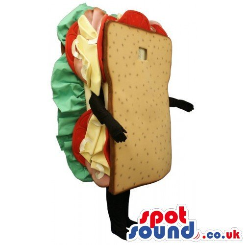 Loaf Of Bread Costume (Customizable Sandwich Bread Loaf Food SPOTSOUND US Mascot Costume With No Face)