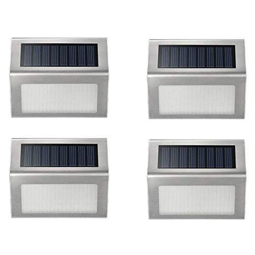 Solar Step Lights, iThird 3 LED Solar Powered Stair Lights Stainless Steel Outdoor Lighting for Deck Paths Patio Auto On/Off Waterproof 4 Pack
