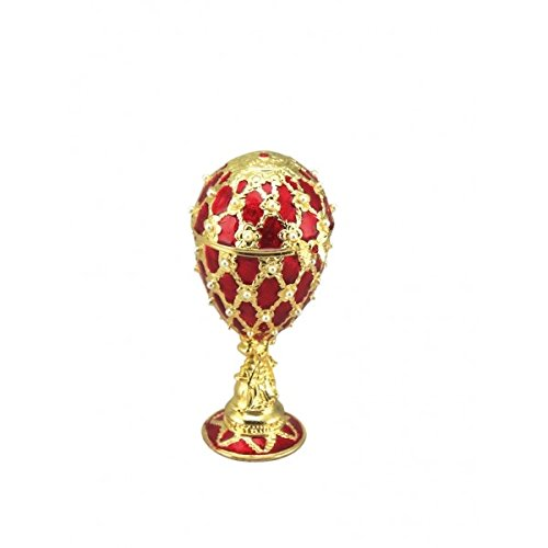 Musicbox Kingdom Red Jewelry Egg in Fabergé Style, Made of Enameled Metal. by Opening The Lid The Melody A Little Night Music Plays. Height 135 Mm