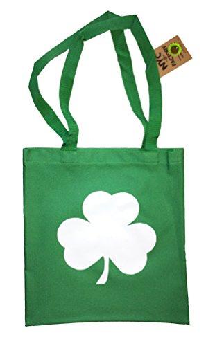 Screen Printed Shamrock Tote Bag St Irish Recycled Kelly ()