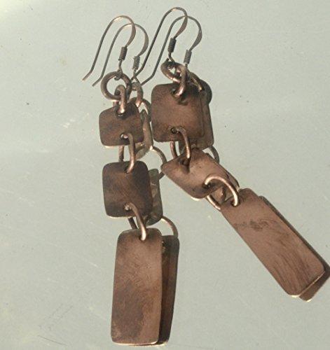 Modernist Dangle - Primitive Tribal Statement Rustic Handmade Copper Earrings Modernist Dangle Drop