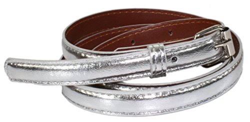 Ted and Jack - Ted's Classic Skinny Leather Look Belt in Silver - Silver Classic Belt