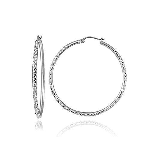 (Sterling Silver 2mm Diamond-Cut Round Hoop Earrings, 25mm)