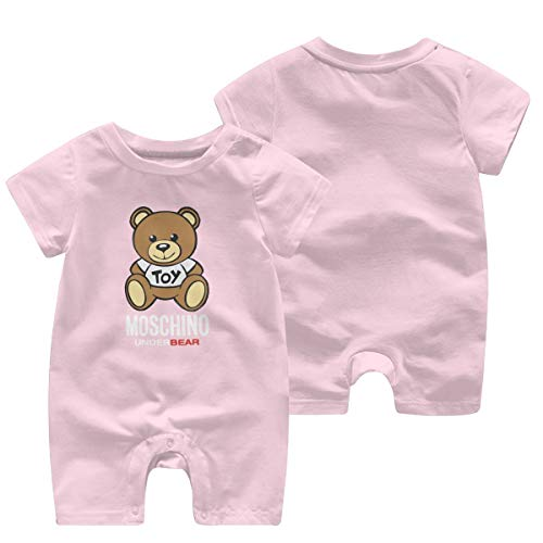 Moschino UnderBEAR Newborn Baby Girl Romper Bodysuits Cotton Flutter Sleeve One-Piece Romper Outfits Clothes Pink