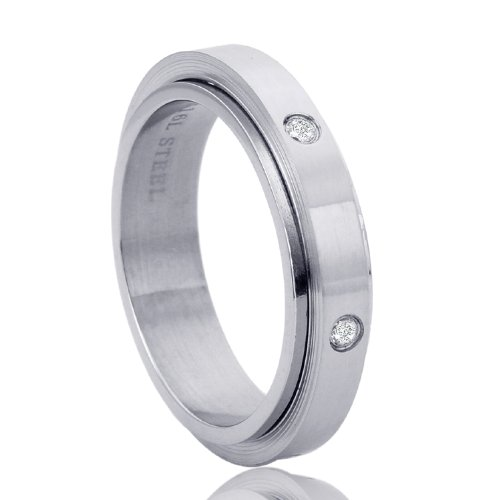 6mm Stainless Steel Regular Fit Wedding Band Ring For Men & Women CZ Eternity Spinner Band Ring ( Size 7 to 14) - Ring Size: 9