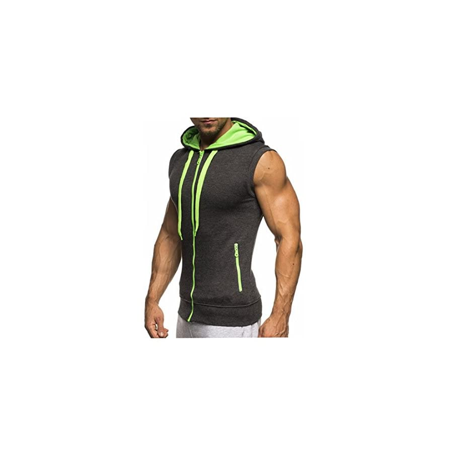 Huiyuzhi Mens Workout Fitness Gym Tank Top Sleeveless Hoodies with Pocket (M, B Gray Green)