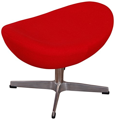 MLF Arne Jacobsen Egg Chair's Ottoman (5 Colors). Premium Cashmere & Hand Sewing. High Density Foam. 4 Star Satin Polished Aluminum Base. Strong Fiberglass Inner Shell.(Red)