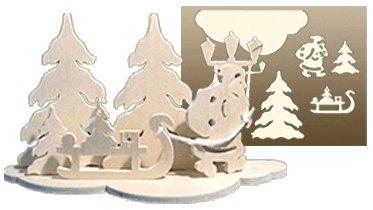 Unbekannt Holz Bastelset 3 D Weihnachtsmann Natur Laubsagearbeit