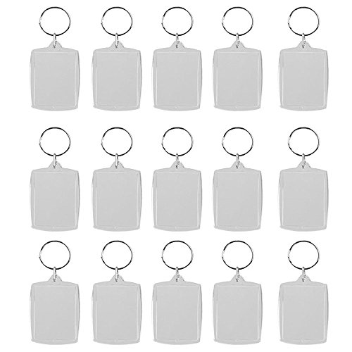 BinaryABC Acrylic Photo Snap in Key Chain,Picture Frame Keychain,Blank Keychains for Pictures,4x5.6cm ()