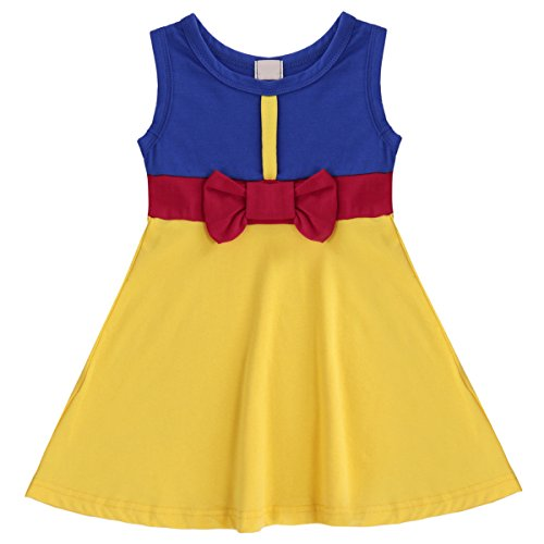 Kid Girl Princess Summer Snow White Mermaid Cartoon Cosplay Costume Fancy Birthday Party Tutu Casual Dress Up T Shirt Skirt Snow White Yellow 3-4 Years -