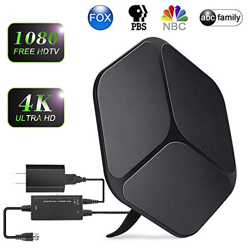 【2019 Upgraded】 HDTV Antenna Indoor Digital TV Antenna, 80-120 Miles Range HD Antenna with Detachable Amplifier Signal Booster and 16FT Coaxial Cable - Extremely High Reception(Black)