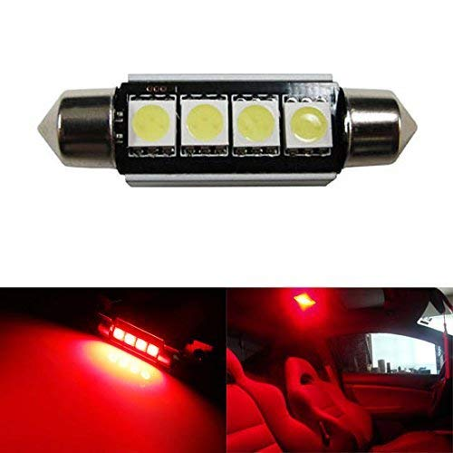 iJDMTOY 4-SMD Error Free 6411 578 LED Bulb For Car Interior Dome Light or Trunk Area Light, Brilliant Red