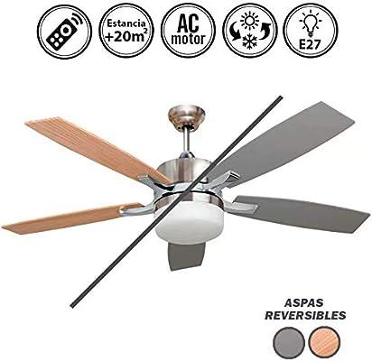 Ventilador de techo con luz Serie MENFIS plata/haya: Amazon.es: Hogar
