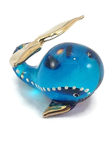 TINY MINIATURE WHALE HAND BLOWN CLEAR GLASS ART WHALE FIGURINE ANIMALS COLLECTION GLASS BLOWN FBA ()