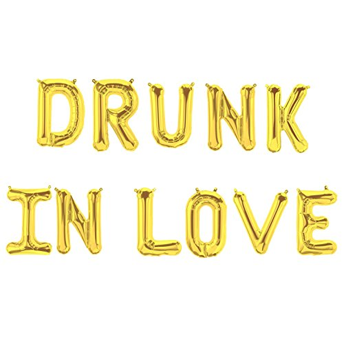"16""Gold Drunk in Love Foil Balloons Mylar Letters Banner 
