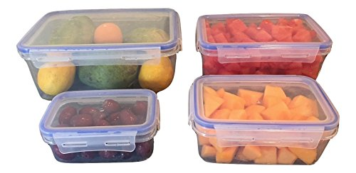 Lock & Stock Food Storage Container Set, 4 Rectanglular Containers (7-pint) (Lock And Lock Microwave compare prices)
