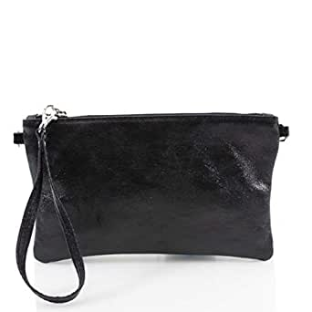 Ladies Women Vera Pelle Metallic Real Leather Clutch Bag (Black)
