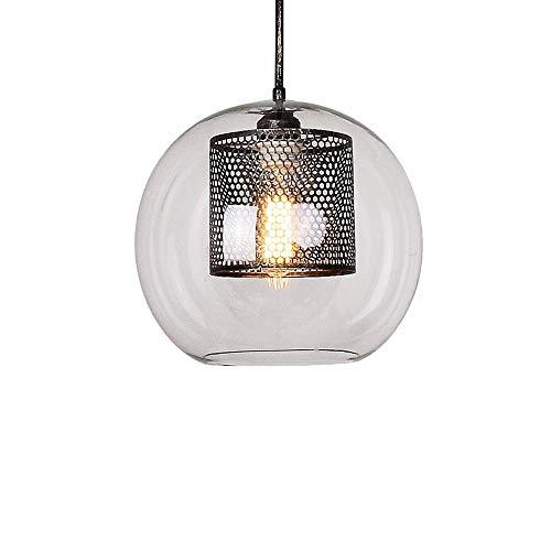- XAJGW Industrial Vintage Modern Victoria Hanging Ceiling Pendant Light Fixture Loft Bar Kitchen Island Chandelier Ribbed Globe Clear Glass Shade (Antique) (Size : 20cm)