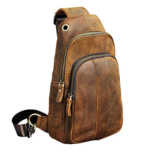 YChoice Fashion Mens Bag Mens Casual Leather Chest Bag Multifunction Outdoor Sports Crossbody Bag Fashion Shoulder Messenger Backpack Brown
