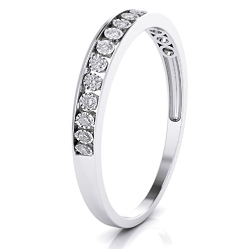 Buy Jewels 10k White Gold 3mm Channel Set Diamond Band Wedding Anniversary Ring (0.15 ct I-J Color Clarity Si2) (White-Gold, 8)