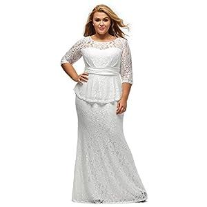 26b9322dd4d XAKALAKA Women s Round Neck Elegant Floral Lace Peplum Plus Size Maxi Gown  Dress Size L (White)