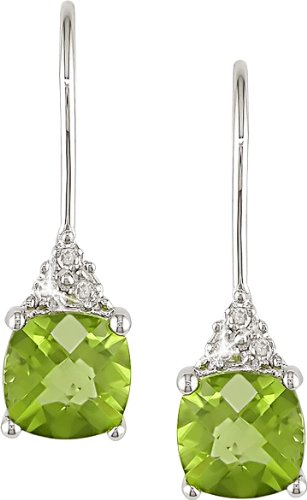10k White Gold Peridot and Accent Diamond Earrings (0.03 Cttw, G-H Color, I2-I3 Clarity)
