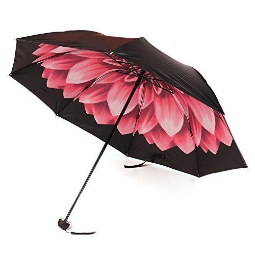 BB Pink lotus Windproof UV Clear/Rain Korean Style Flower Princess Folding Umbrella (Dance Costume Designer Online)