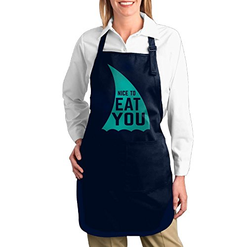 Shark Boy Costume At Walmart (Dogquxio Nice To Eat You Funny Shark Kitchen Helper Professional Bib Apron With 2 Pockets For Women Men Adults Navy)