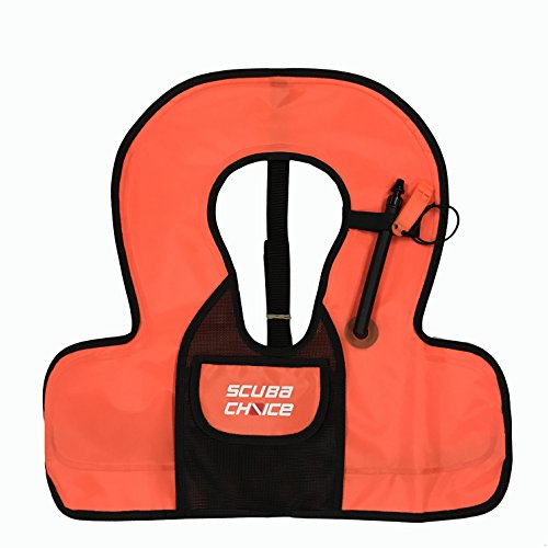 Scuba Choice Kids Snorkel Vest with Front Pocket & Whistle, Orange ()