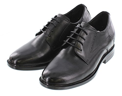 Calto T51312-2.8 Inches Taller - Height Increasing Elevator Shoes - Zwarte Leren Veterschoenen
