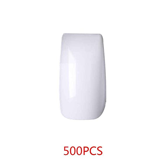 Babysbreath 500PCS Nail Artificial Uñas postizas Artificiales Nail Art Decoration White Nail Patch Medio pegar: Amazon.es: Belleza