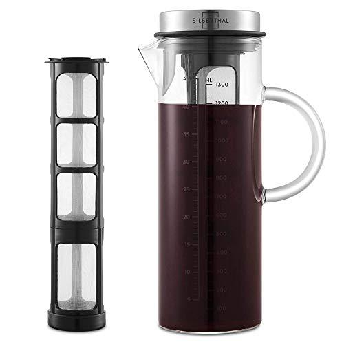 SILBERTHAL Cold Brew Coffee Maker | Cafetera Fria 1,3l | Jarra de café Nevera | Jarra Cristal con Tapa | Prepara café…