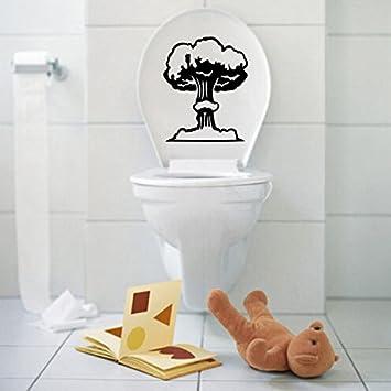 Vinyle Champignon Siège De Toilette Autocollant Mural Salle De Bains - Champignon salle de bain