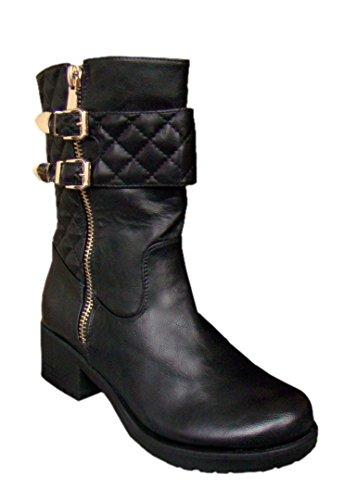Damen Stiefelette ,Schuhe Stiefel Schnallen,Gefüttert ,Schwarz