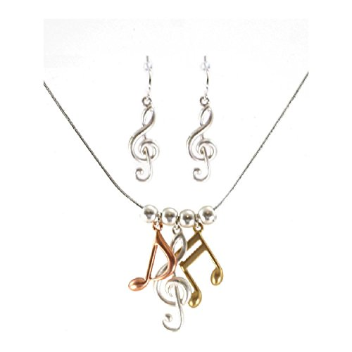 pricegems Three Tone Music Treble Clef and Note Necklace Earring Set 'Music (Timeless Satin Pendant)