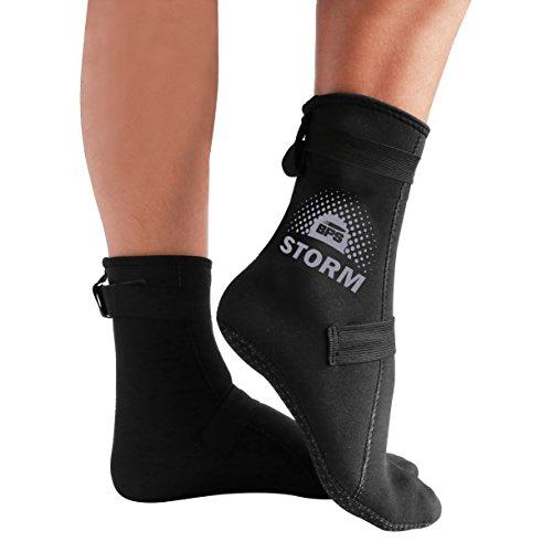 BPS 'Storm Elite Sock' Neoprene Water Socks - with Anti-Slip Sole - Unisex Socks for Snorkeling, Beach Volleyball, Surfing, Scuba Diving, Fin Socks - High Cut (Black/Lilac Grey, L)