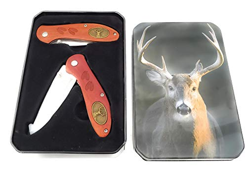 Ozark Trail 2 Piece Pocket Folding Knife Set With Collector's Tin Box Gift (Deer)