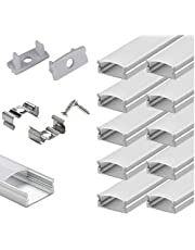 StarlandLed 10-Pack 6.6FT/2 Meter LED Aluminum Channel, U Shape LED Profile with End Caps and Mounting Clips for LED Strip Light Mounting