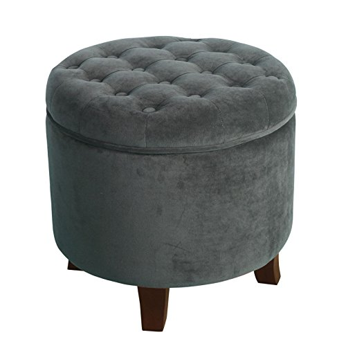 HomePop K6171-B229 Velvet Button Tufted Round Storage Ottoman with Removable Lid Dark Gray