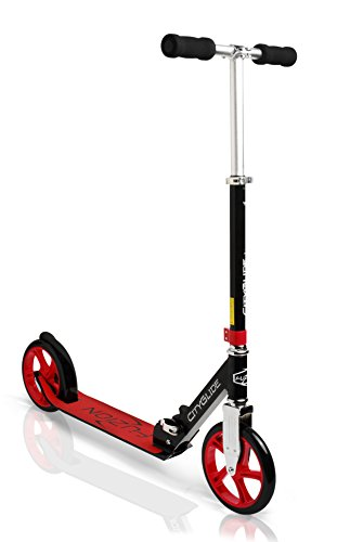 Fuzion Cityglide Adult Kick Scooter - Smooth, Pro Push Urban Scooters for Adults, Commuter Scooters, City Scooters - Folding Scooter and Adjustable T-Bar - Big Kids, Boys and Girls (Max 220lbs) Red