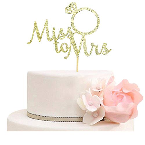 Miss to Mrs with Diamond Ring Cake Topper for Bridal Shower, Wedding, Engagement Party Decorations Gold - Wedding Shower Cake