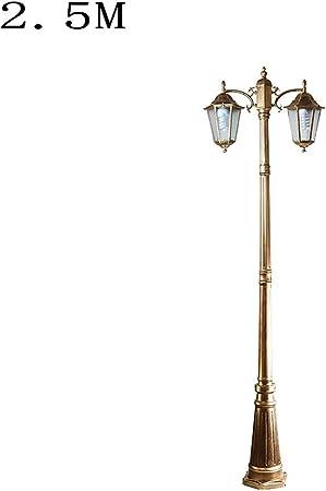 IGLZ Tradicional Jardín Poste de la lámpara de Alta Polo Farola, E27 Principal Doble, Impermeable de Aluminio Rust, Jardín Camino de iluminación Patio Patio de Madera Lámpara de pie de césped: Amazon.es: