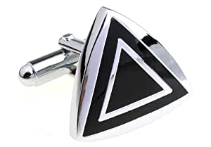 Silver and Black Triangle Cufflinks Cuff Links