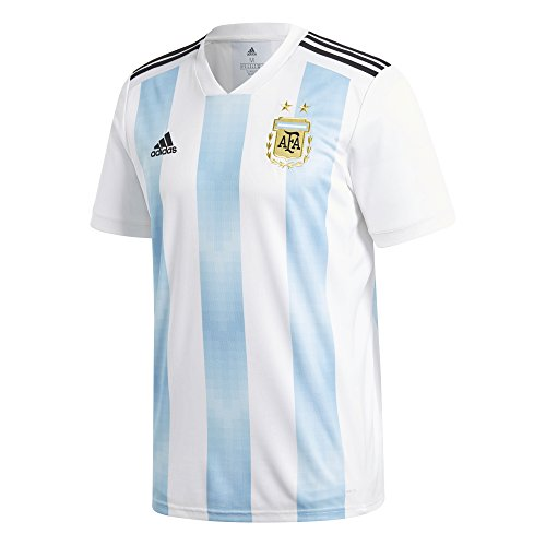 Argentina Soccer Shirt - adidas Argentina 2018 Home Replica Jesey White/Light Blue M